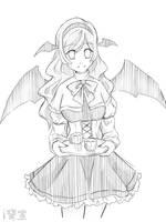 Simple Sketch for my Visual Novel - Koakuma by iAozora