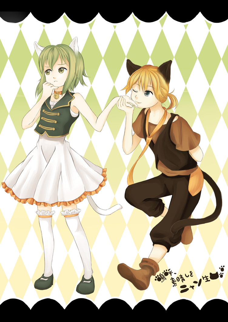 Gumi And Len Ah Its A Wonderful Cat Life The Image Kid Has It