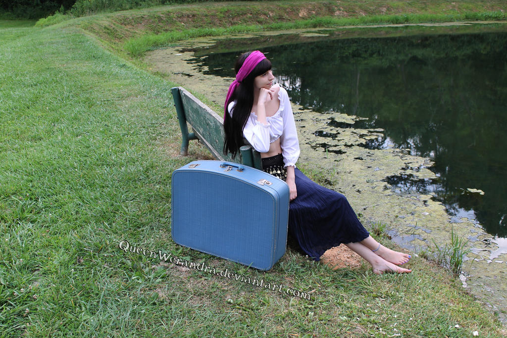Gypsy girl by the pond stock (2014) by QueenWerandra