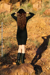 Sunset mountain:Black dress and fabulous hair XIII by QueenWerandra