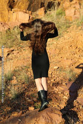 Sunset mountain: Black dress and fabulous hair XI by QueenWerandra
