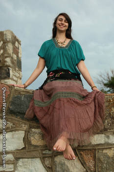 Barefoot gypsy girl earthy outfit