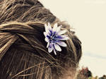 and flowers in her hair