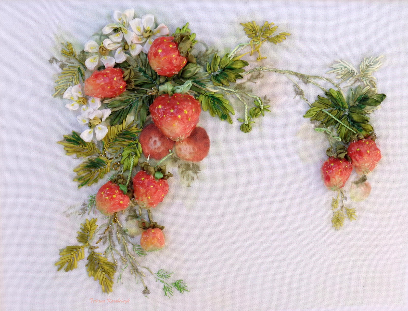 Strawberries d picture silk ribbon embroidery by