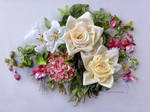 Hortensia, roses and fuchsia