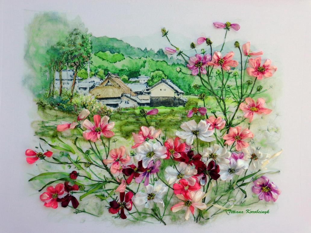 Kosmeya, silk ribbon embroidery picture by TetianaKorobeinyk