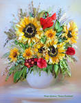 Sunflowers, silk ribbon embroidery