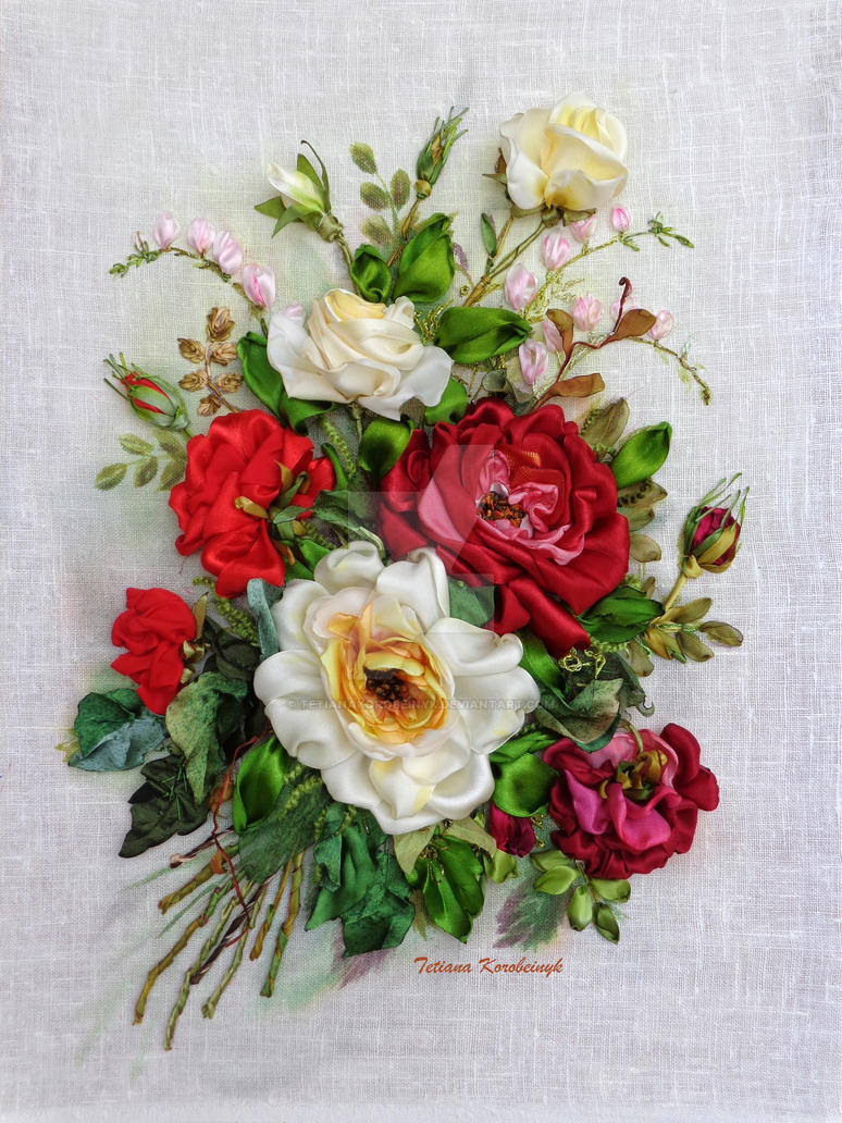 Roses, ribbon embroidery picture by TetianaKorobeinyk