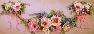 Vintage roses,ribbon embroidered picture