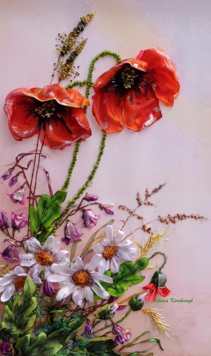 Poppies,ribbonembroidery by TetianaKorobeinyk