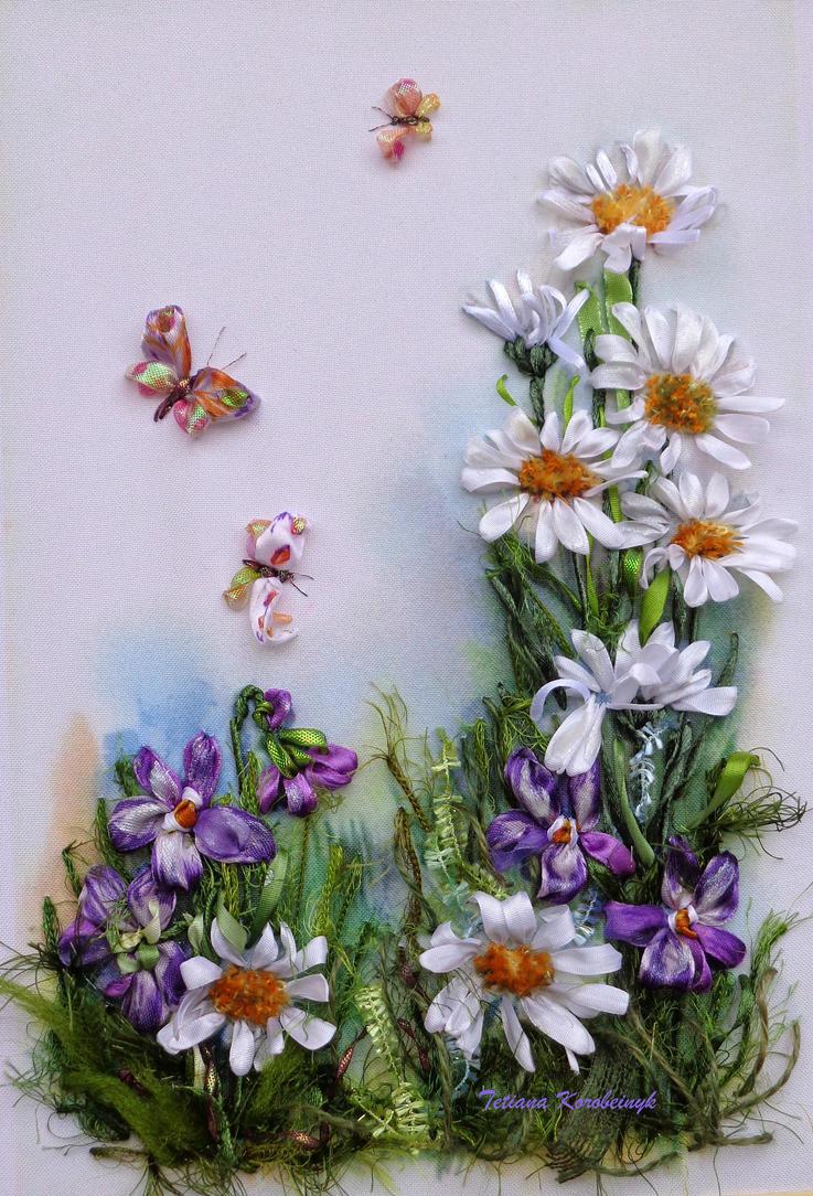 Daisies, ribbonembroidery by TetianaKorobeinyk