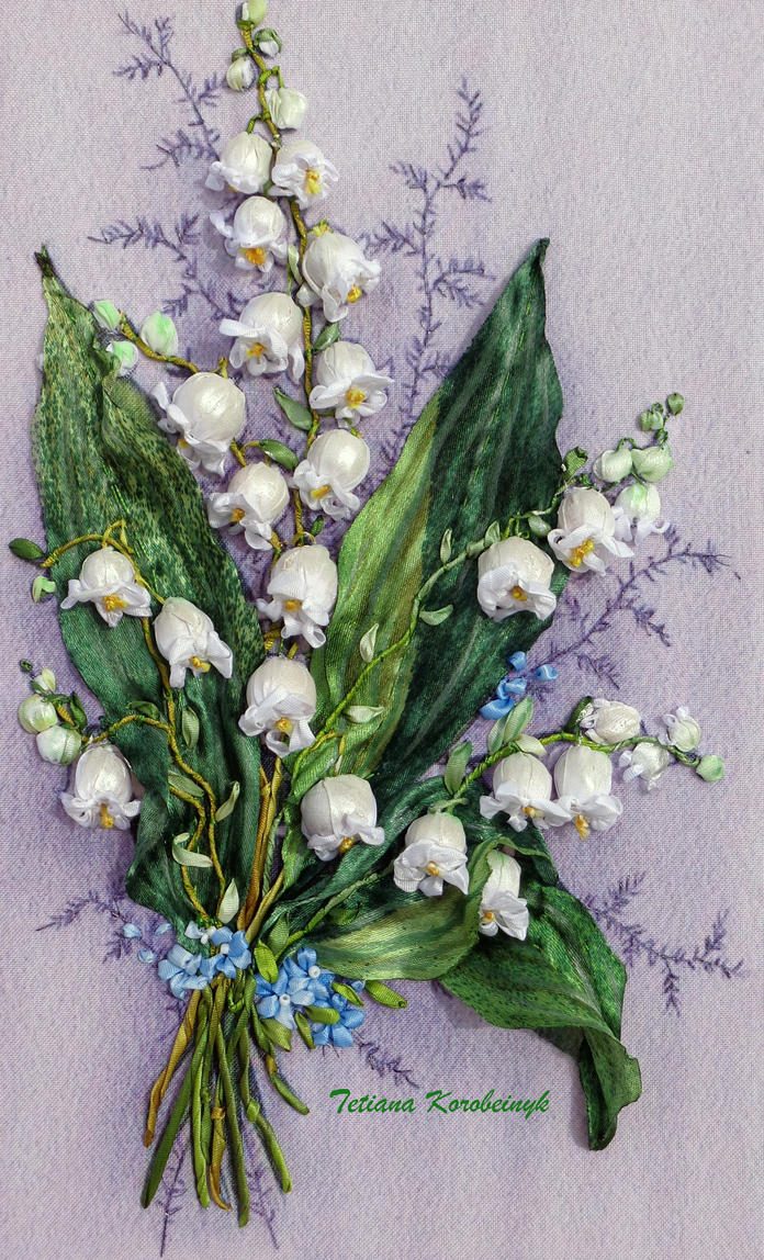 Lilly of valleysilk ribbon embroidery by tetianakorobeinyk on lilly of valleysilk ribbon embroidery by tetianakorobeinyk izmirmasajfo