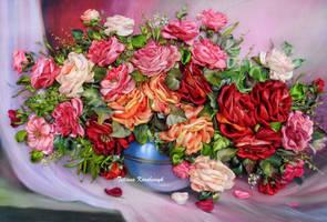 Roses, ribbon embroidery by TetianaKorobeinyk