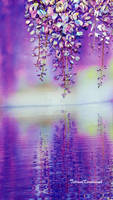 Picture Sunrise with wisteria,ribbon embroidery by TetianaKorobeinyk