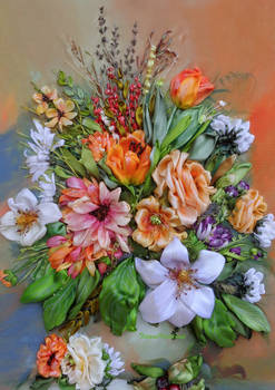 My flowers, ribbon embroidery by TetianaKorobeinyk