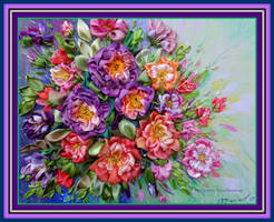 Ribbon embroidered picture Purple and pink by TetianaKorobeinyk