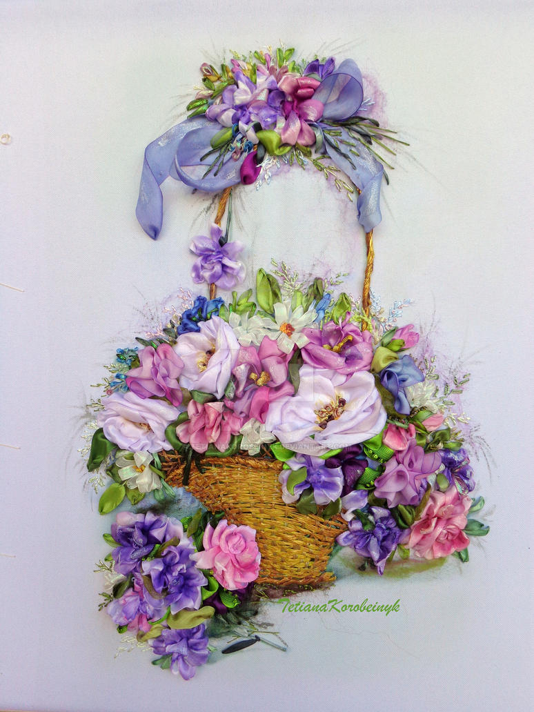 Flowers in basket ribbon embroidery art by
