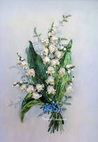 Lilies of the valley, ribbon embroidery work by TetianaKorobeinyk