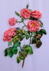 silk ribbon embroidery Rose by TetianaKorobeinyk