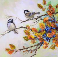 Autumn1 Ribbon embroidery by TetianaKorobeinyk