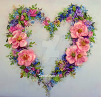 Floral heart, ribbon embroidery by TetianaKorobeinyk