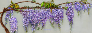 Wisteria blooming, ribbon embroidery picture. by TetianaKorobeinyk