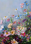 Wildflowers, ribbon embroidery picture