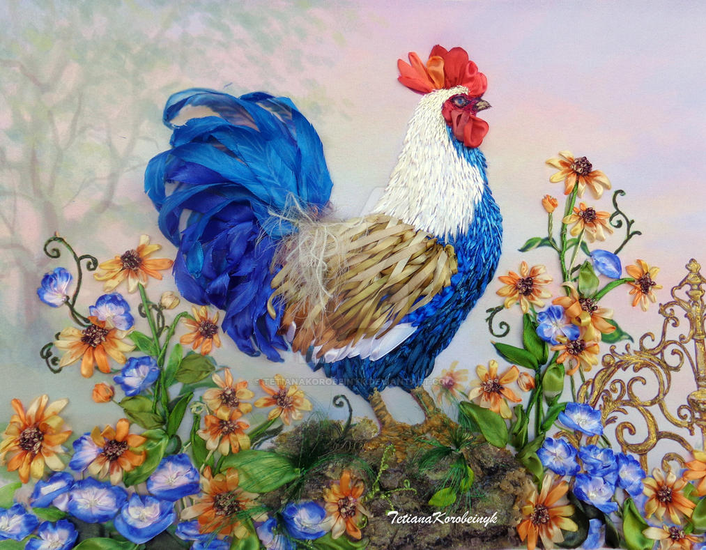 Rooster,ribbon embroidery by TetianaKorobeinyk