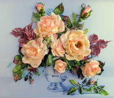 Pink roses, ribbon embroidery picture by TetianaKorobeinyk
