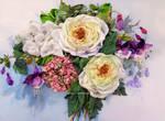 Rose,hydrangea and fuchsia, ribbon embroidery.