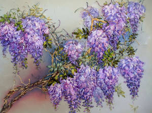 Wistaria blooming, ribbon embroidery picture