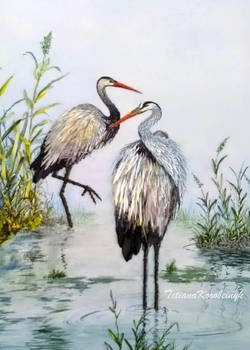 Storks,ribbon embroidery picture