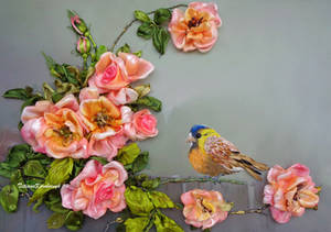 Roses and bird, ribbon embroidery