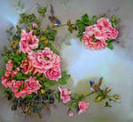 Ribbon embroidery  roses and birds