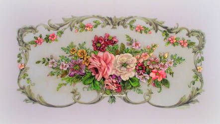 Vintage style ribbon embroidery
