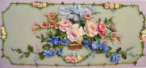 Vintage style ribbon embroidery picture