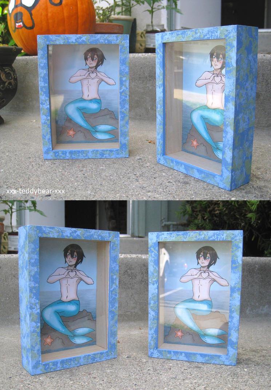 Cyan the Merman Shadow Box by xxx-TeddyBear-xxx