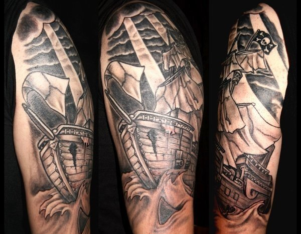 pirateship sleeve by rainalot on deviantart. Black Bedroom Furniture Sets. Home Design Ideas