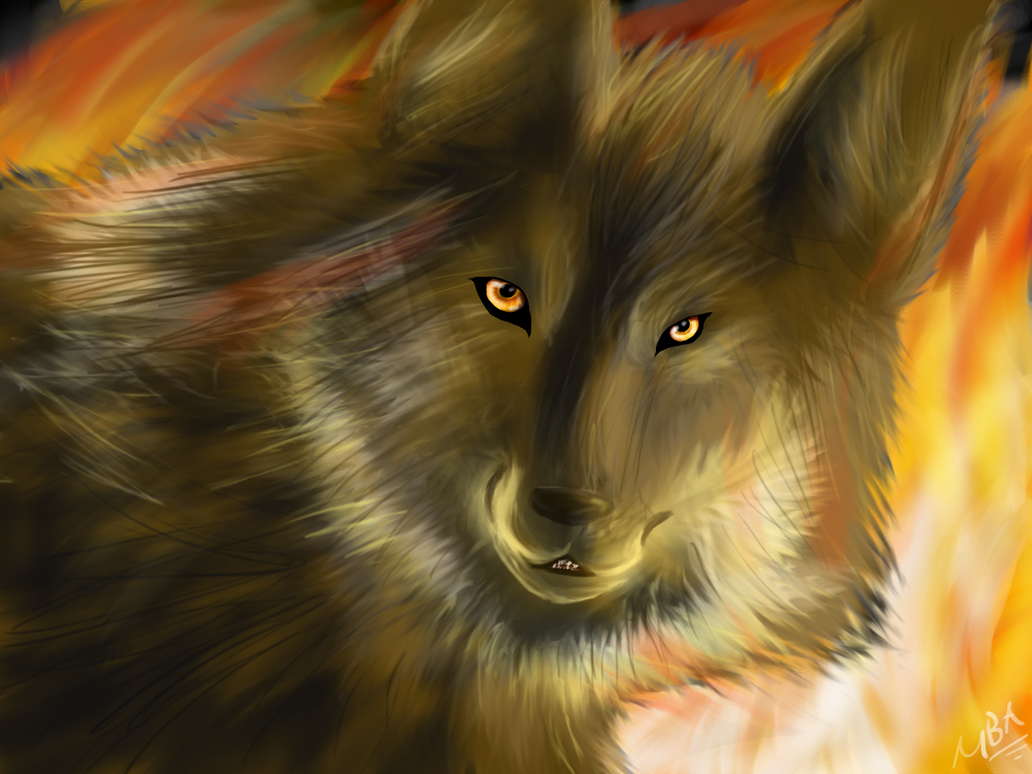 Wolf In Fire by Airokat