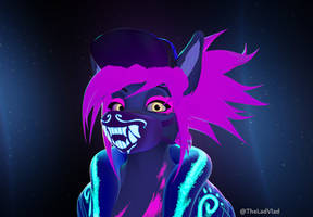K/DA Akali Inspired 3D Bust Commission - Neon by VladLad