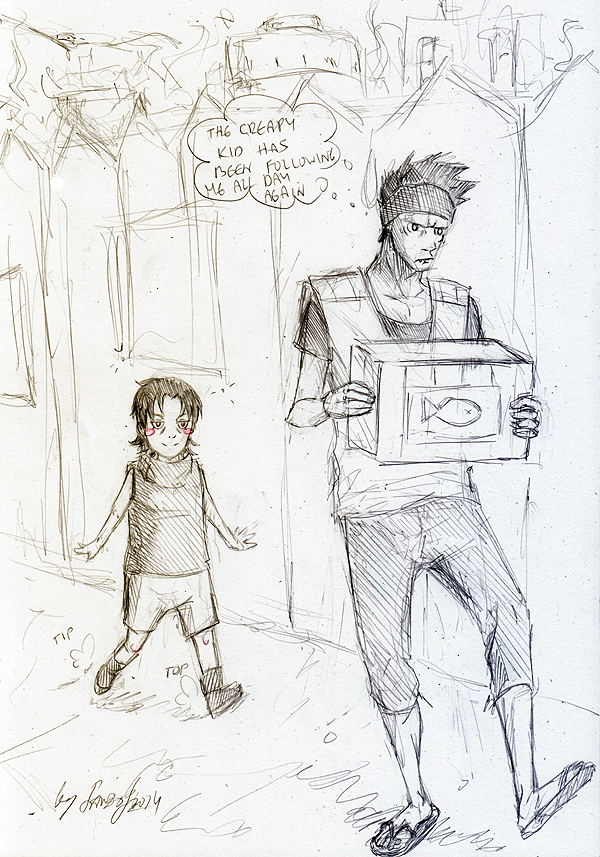 a boy and a fisherman by Sanzo-Sinclaire