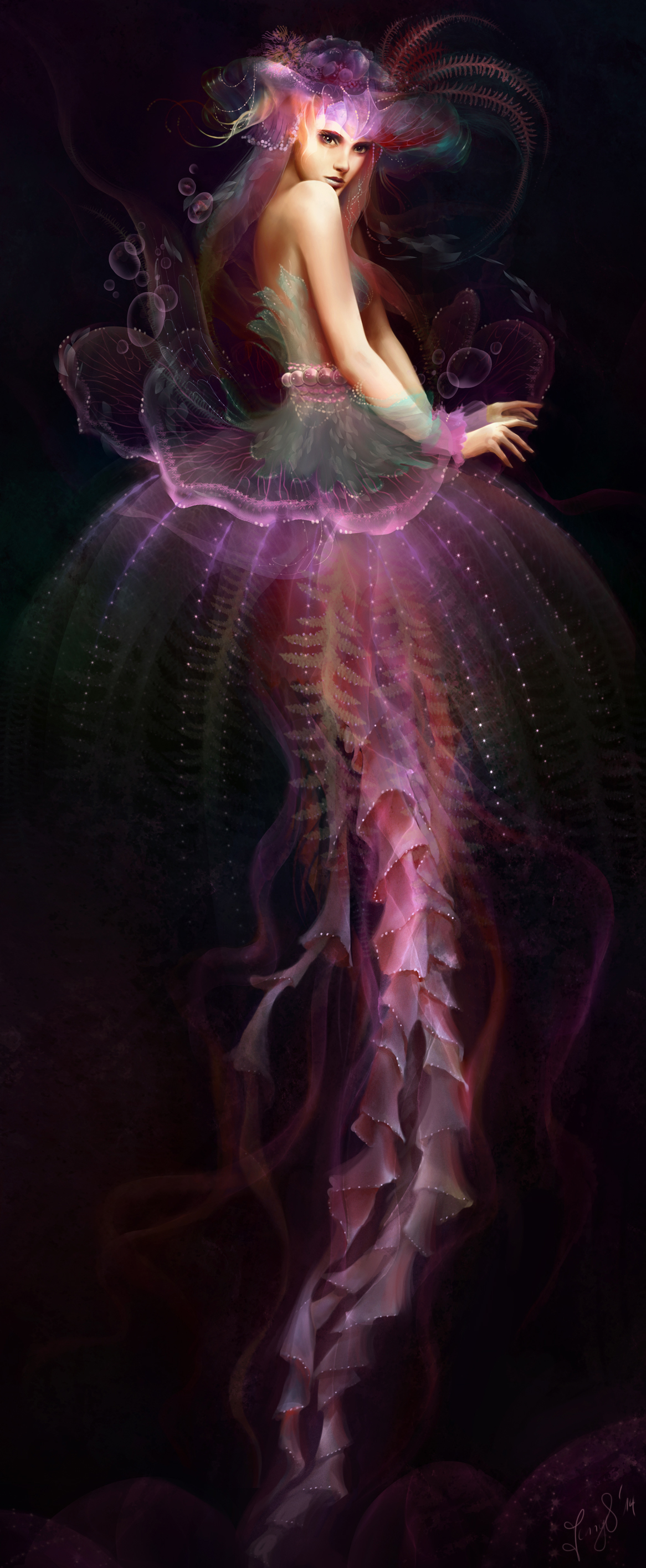 The jellyfish queen by jennyeight on deviantart for Jelly fish painting