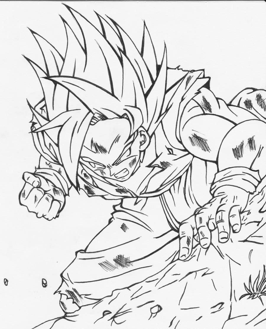 Dragon Ball Z Lineart : Goku s standover dragonball z lineart by juankaran on