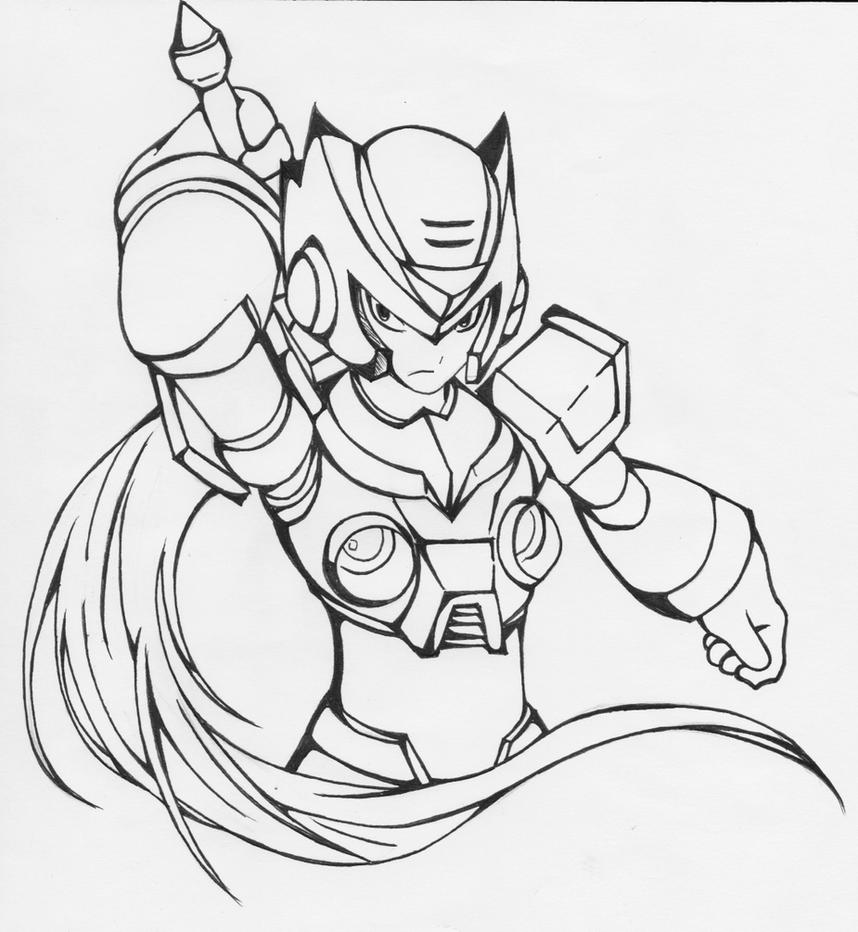 zero megaman x lineart by zero from megaman coloring pages megaman printable - Mega Man Printable Coloring Pages