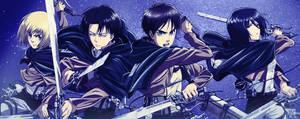 Shingeki No Kyojin - Eren, Mikasa, Armin and Levi