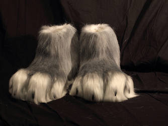 Scary grey werewolf fursuit feetpaws. by Voodoodelicious