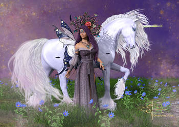 Lady and Unicorn in Lavender by Dracorn