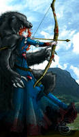 Merida the warrior by avrien-huggin