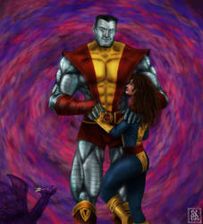Colossus and Kitty by thesadpencil