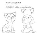 Plush cat and dog base